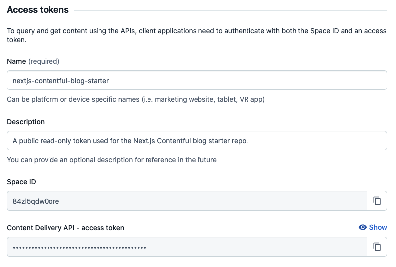A screenshot of where to generate an access token in the Contentful UI