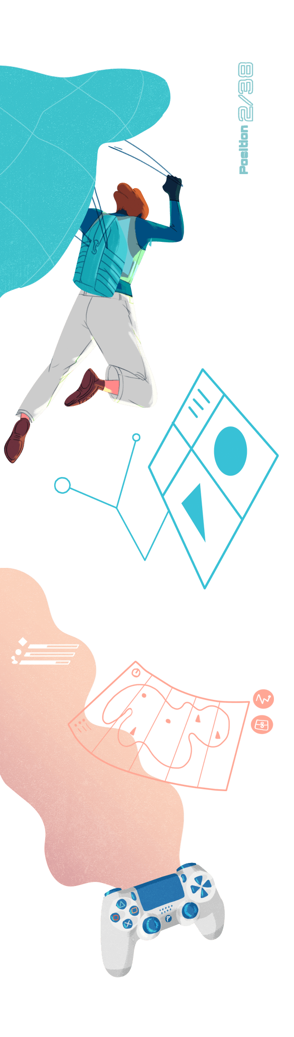 drawing of a parachuter above a video game controller in a post-cubist world