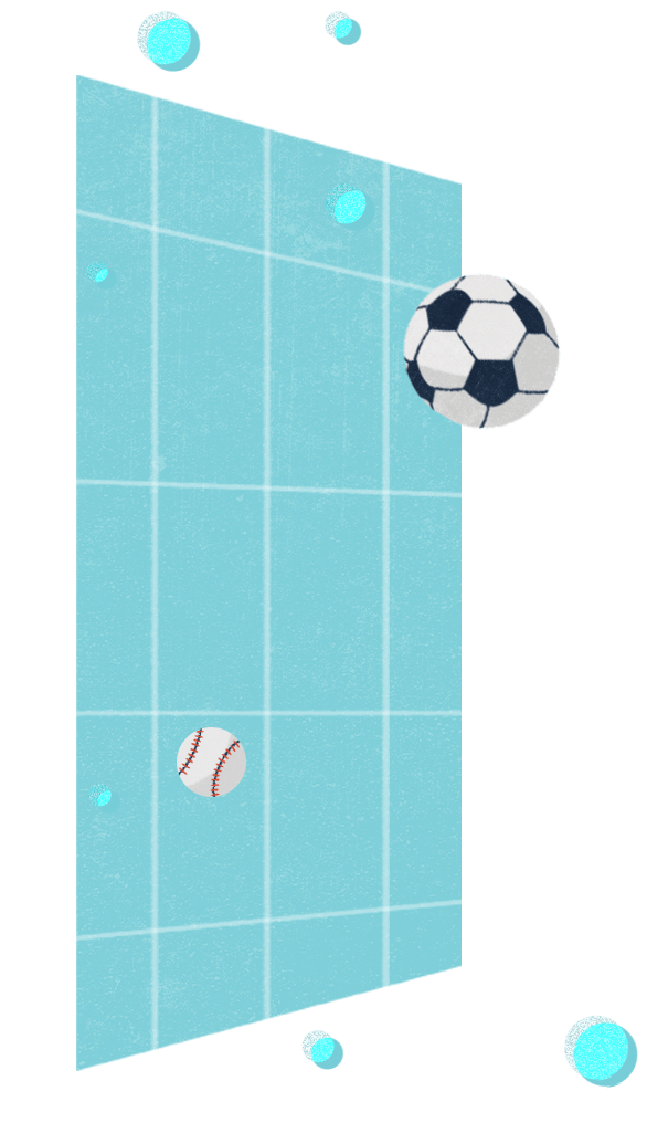 various sports balls over single geometric plane