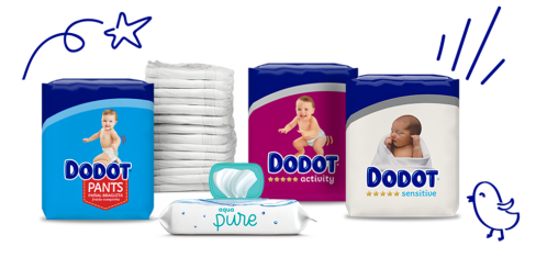 Fraldas, roupa interior e toalhitas para bebés