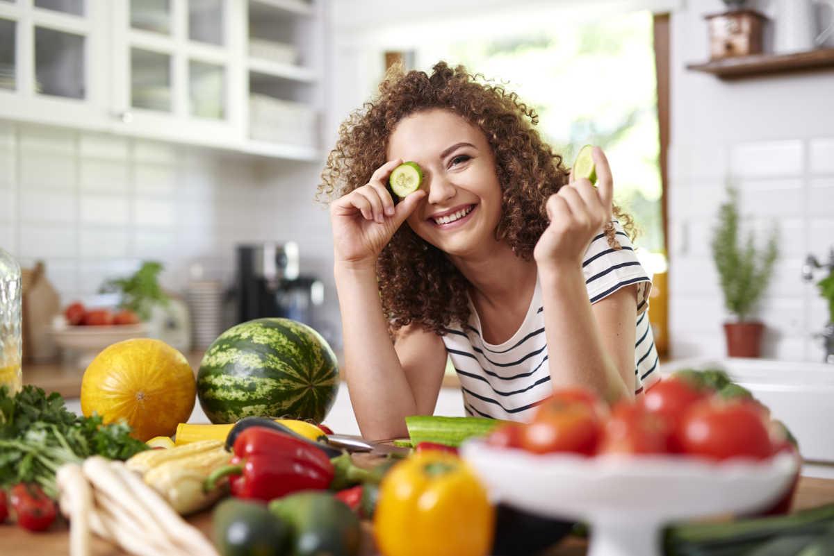 mulher vegetariana
