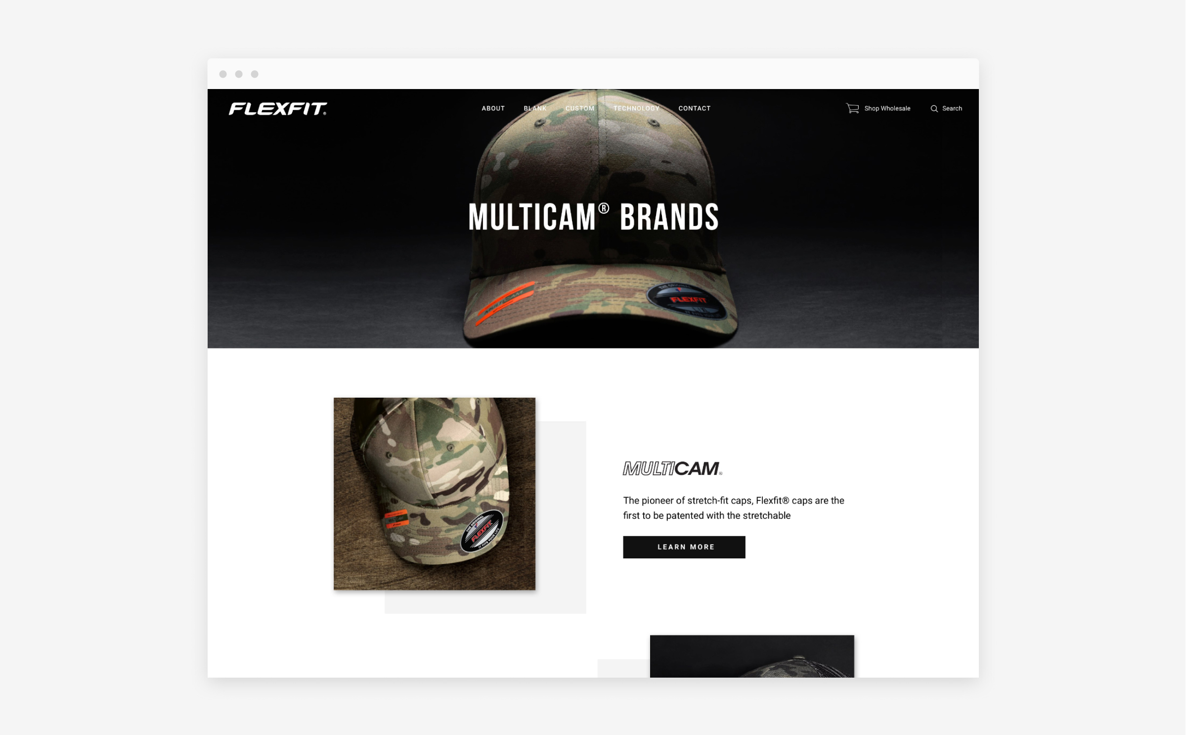 flexfit website multi cam brands page