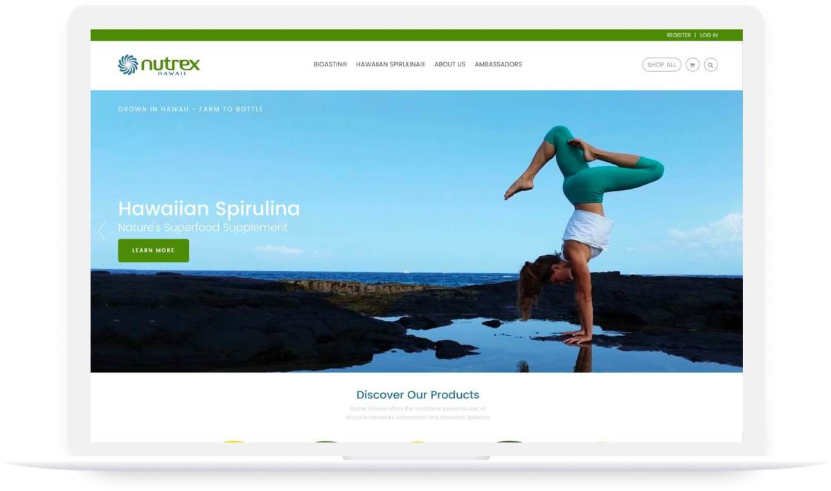 nutrex hawaii shopify website homepage on laptop screen