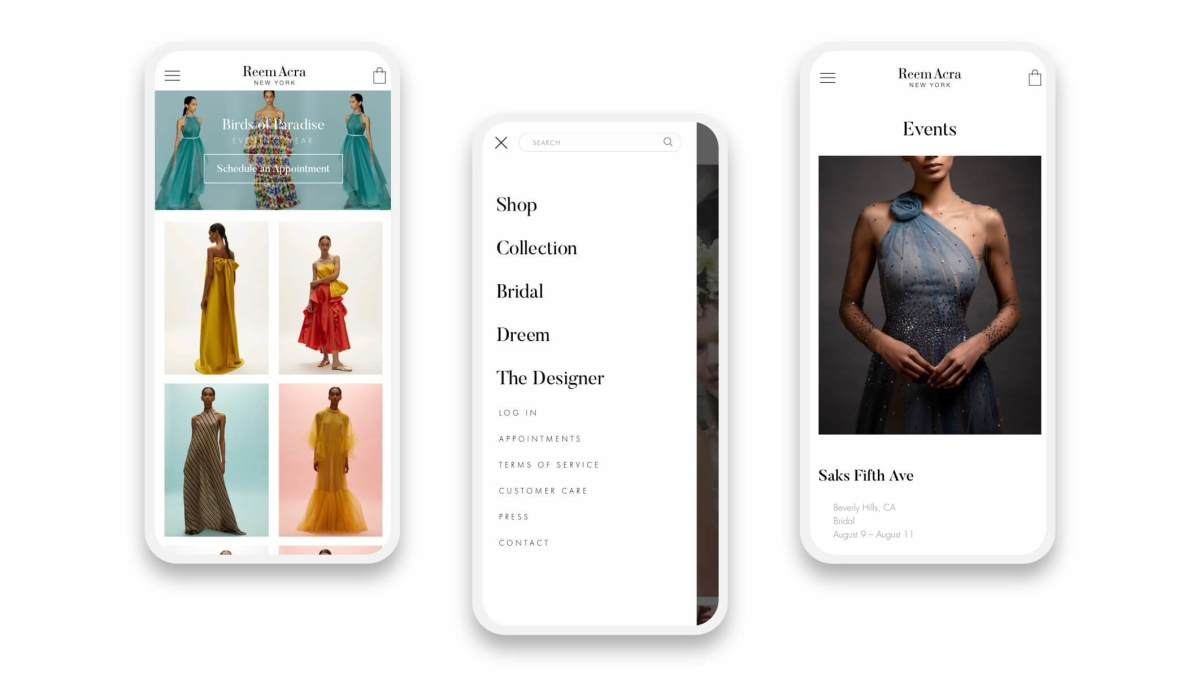reem acra shopify pages on a three smartphones