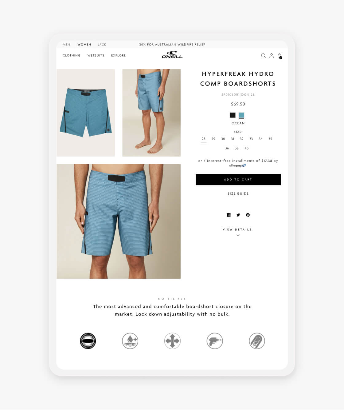 oneill shopify product page on a tablet
