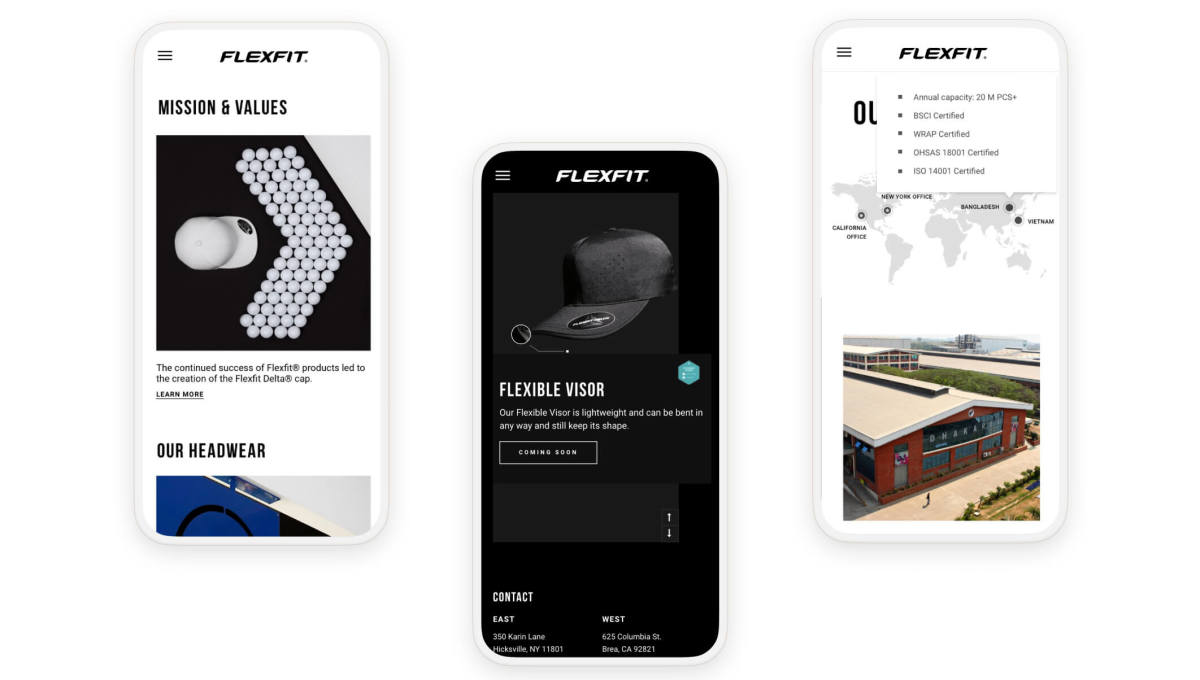 flexfit website pages on three smartphones