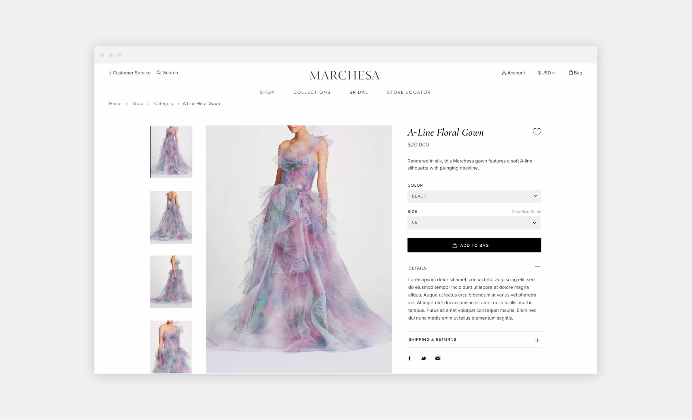 Marchesa website floral gown product page