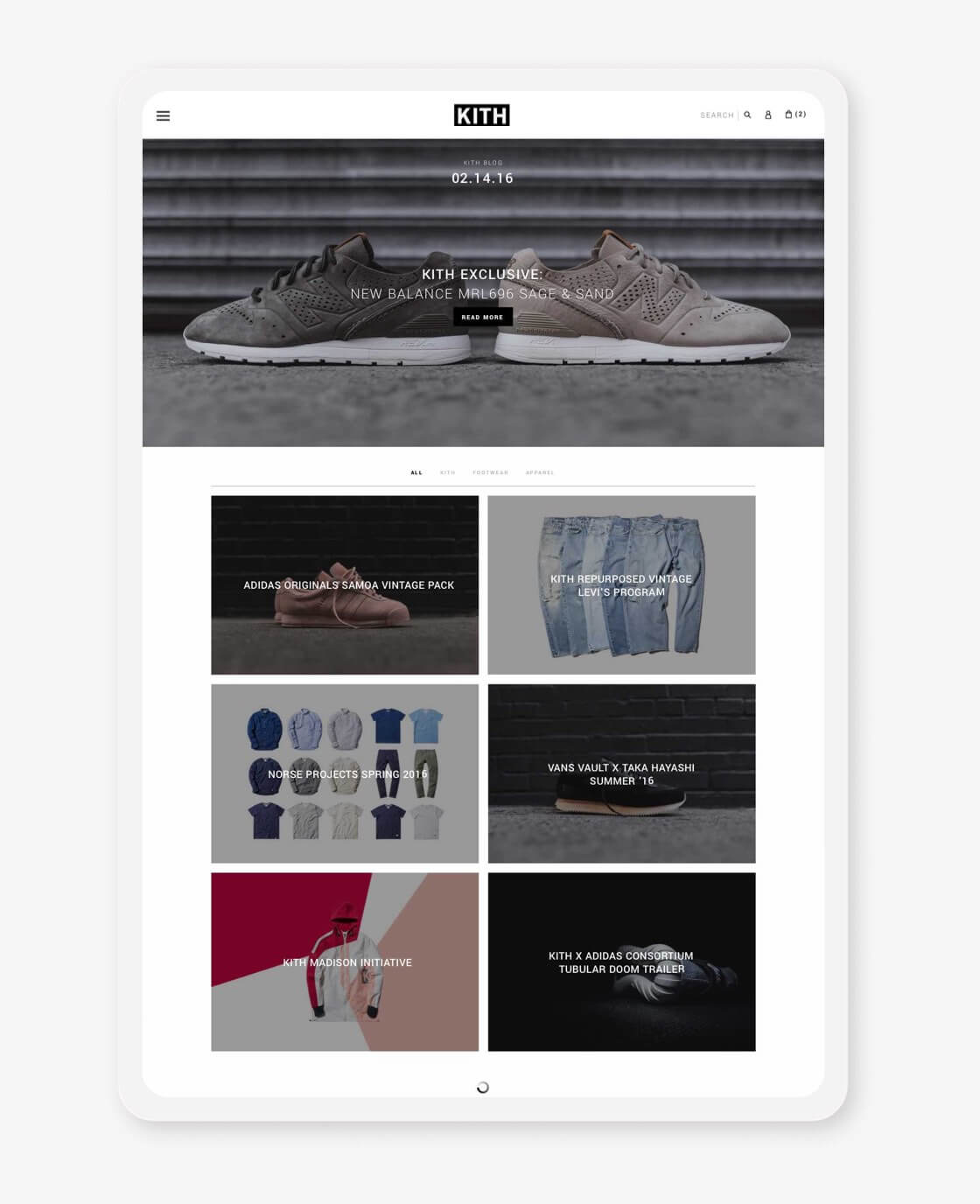 kith website blog landing page on tablet