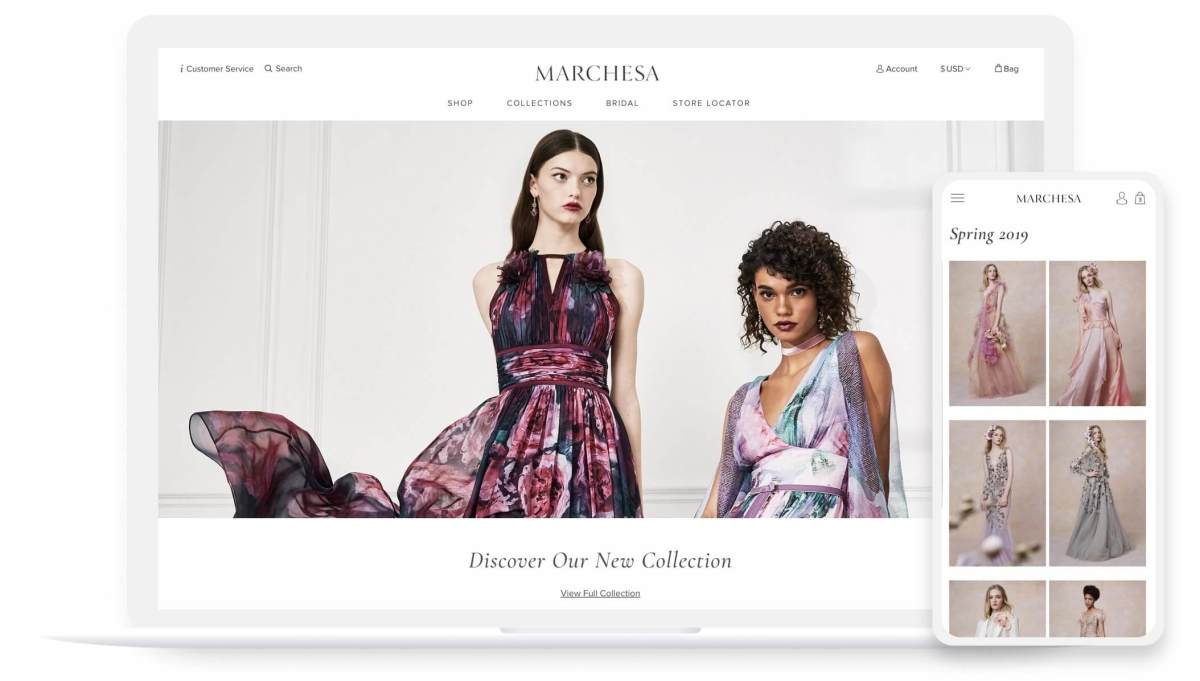 marchesa website homepage and look book mobile and desktop pages
