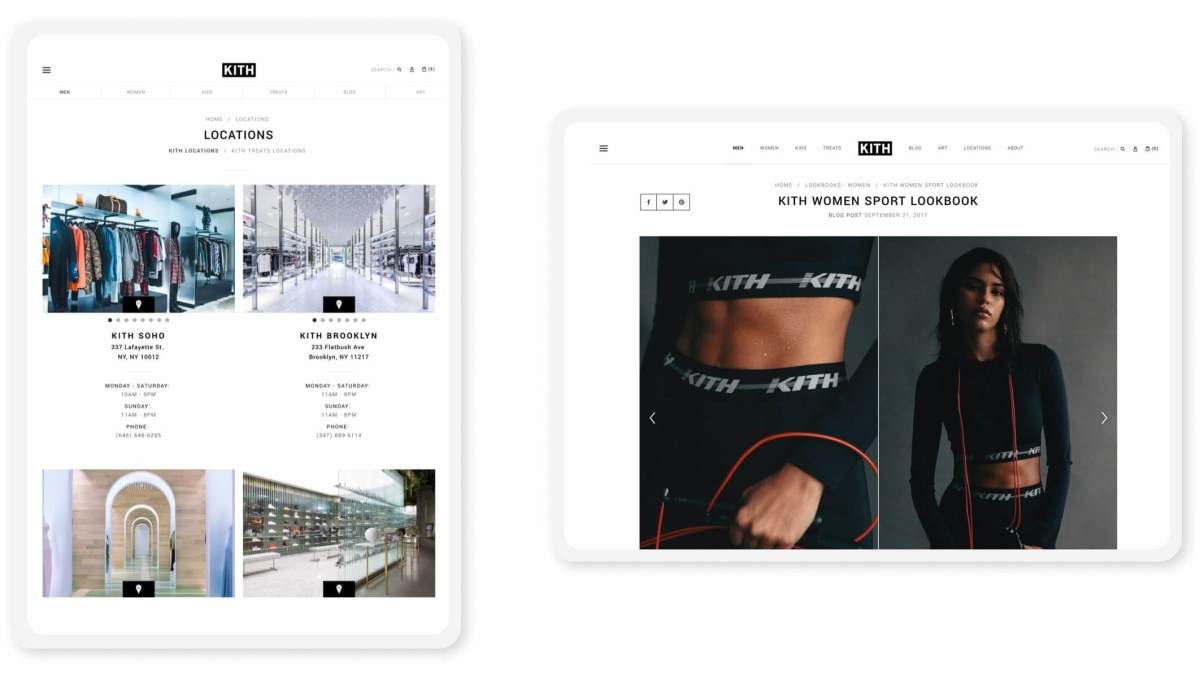 kith shopify website pages on tablets in portrait and landscape modes