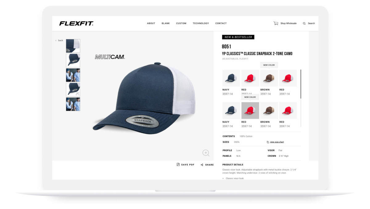 flexfit website classic snapback product page on laptop screen