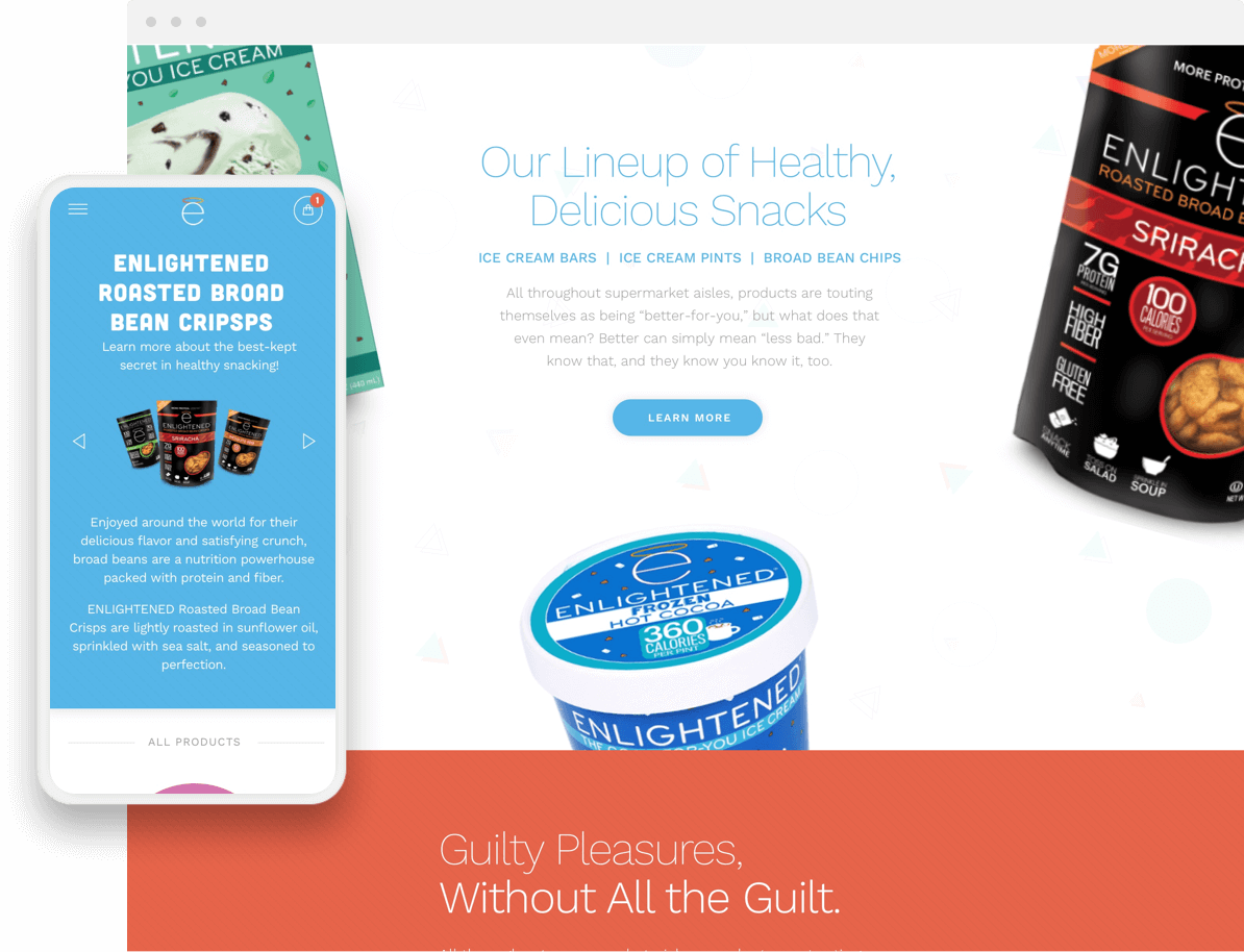 enlightened shopify plus website mobile and desktop pages