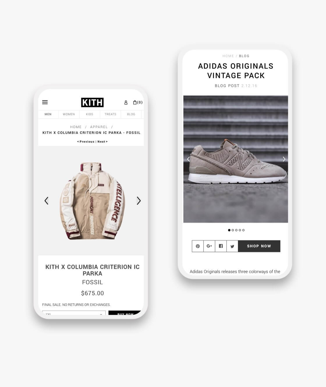 kith website product pages on mobile
