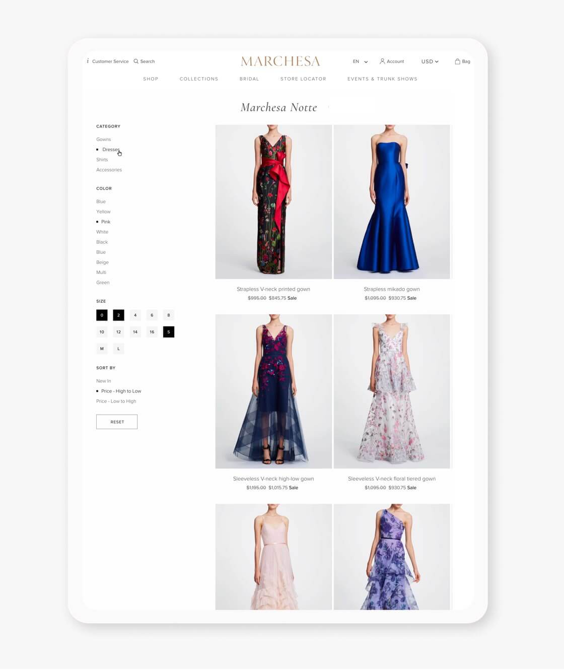 marchesa shopify plus website collection page on tablet