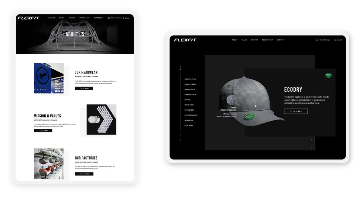 flexfit website pages on tablets in portrait and landscape modes