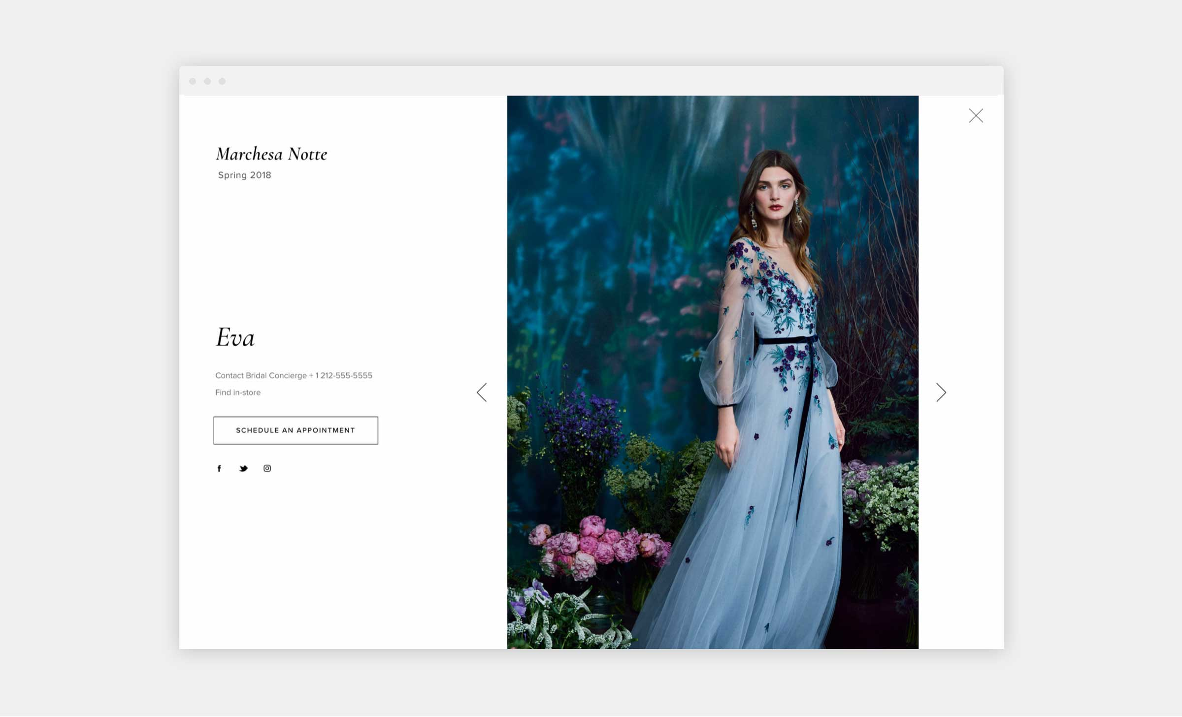 marchesa website bridal appointment page