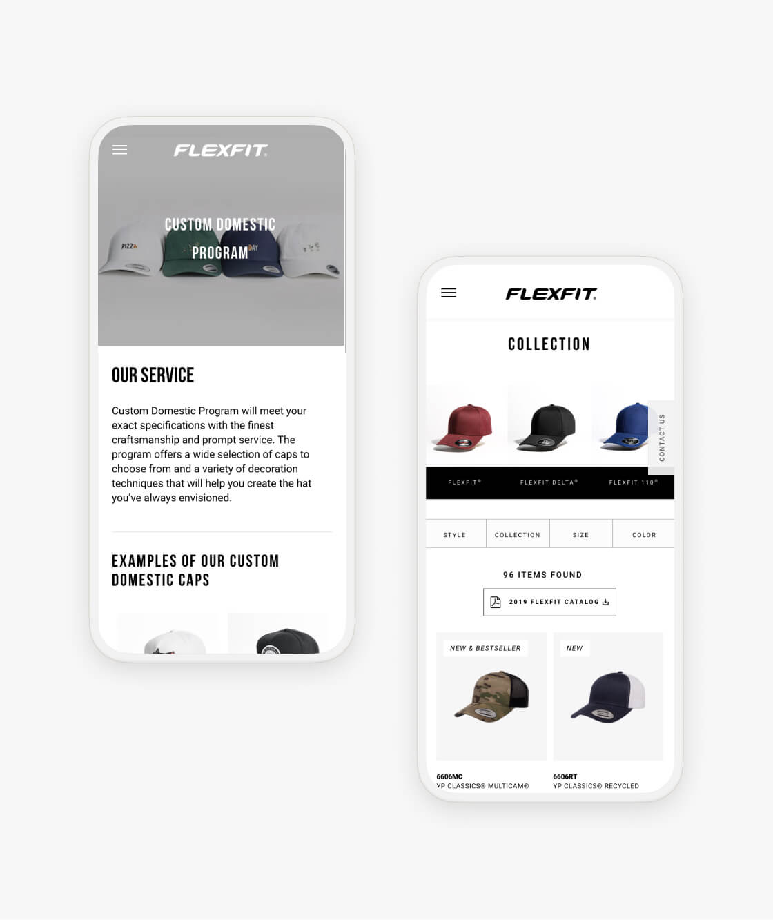 flexfit website pages on smartphones