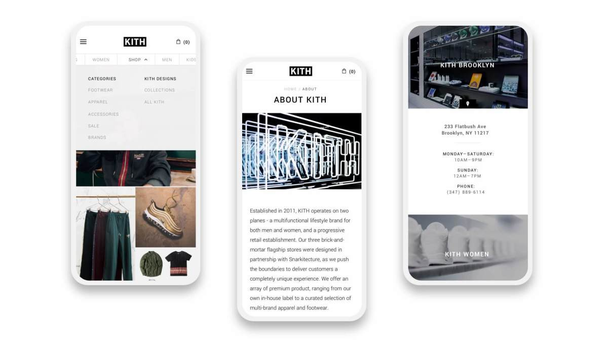 kith shopify mobile website pages on three smartphones