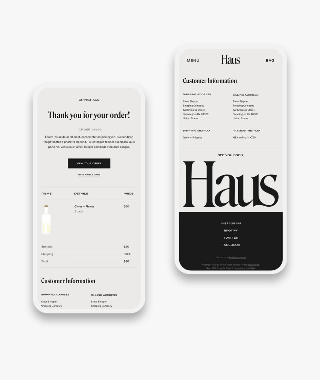 haus shopify website order confirmation and account pages on mobile