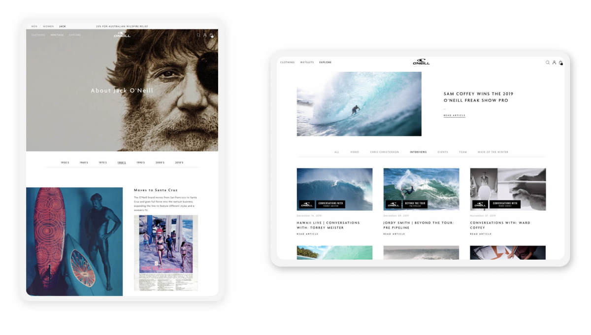 oneill shopify site on two tablets in both portrait and landscape mode