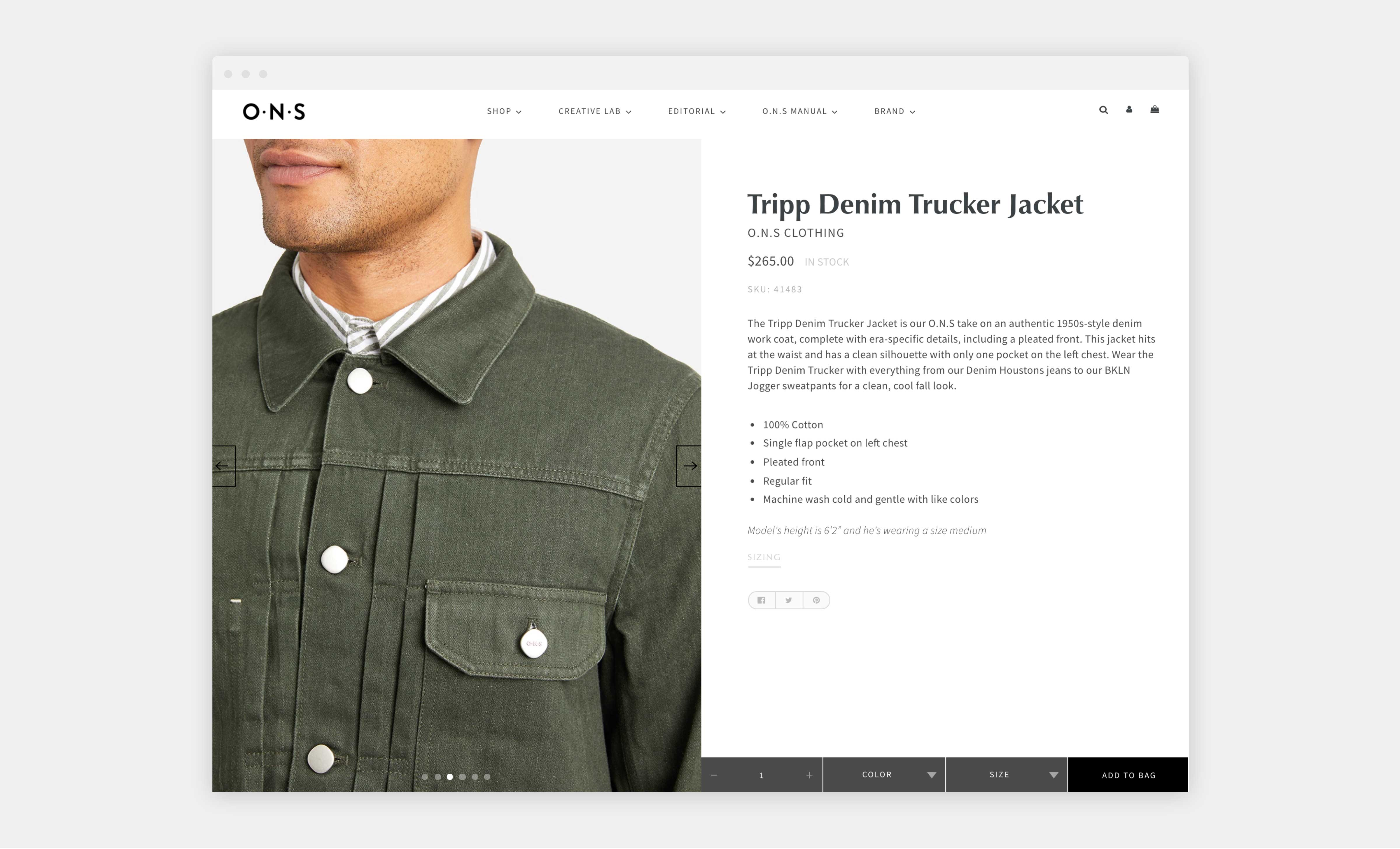 o n s website denim trucker jacket product page
