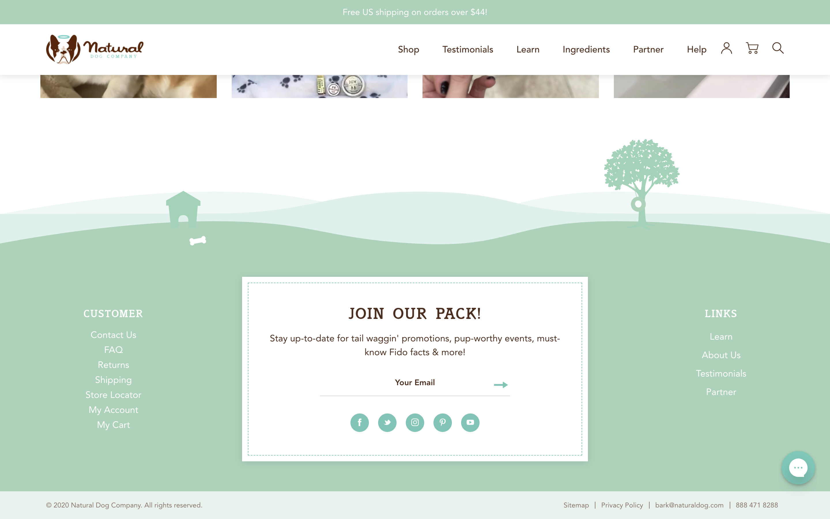 Footer of Nat Dog Co Site Screenshot