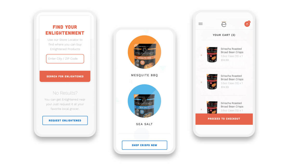 enlightened shopify website mobile pages on three smartphones