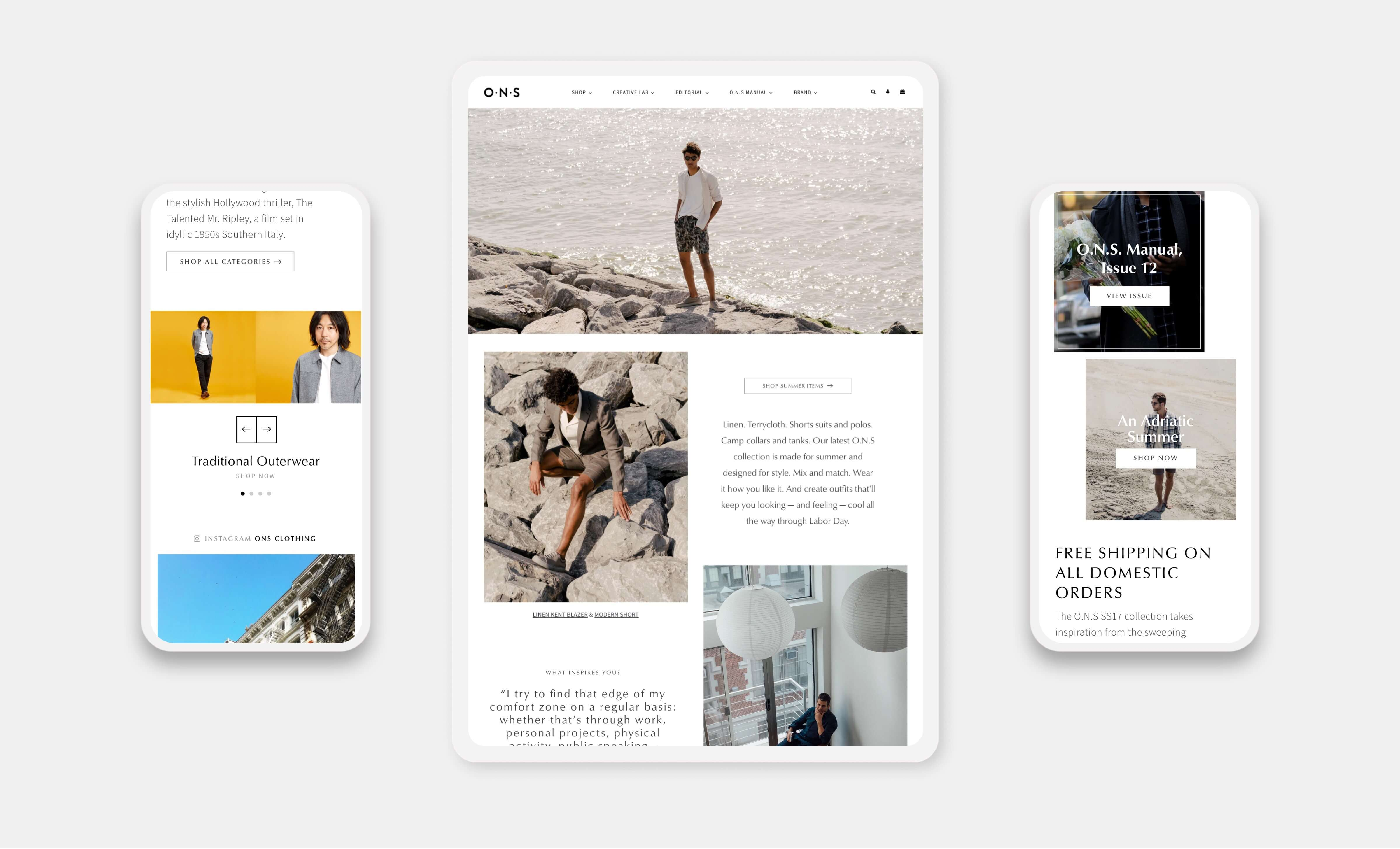 o n s website pages on smartphones and tablet