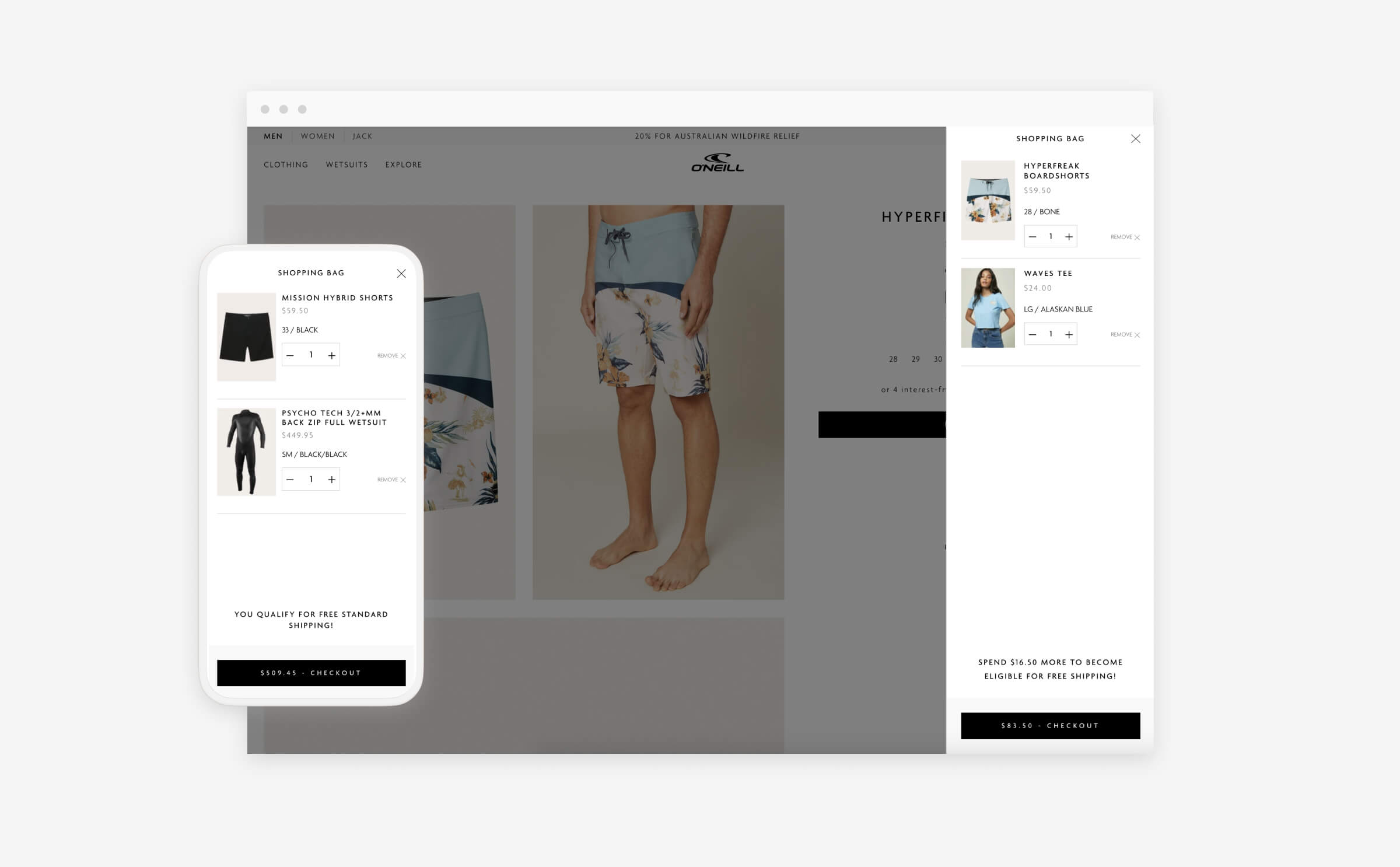 the oneill.com shopping cart on both desktop and mobile devices