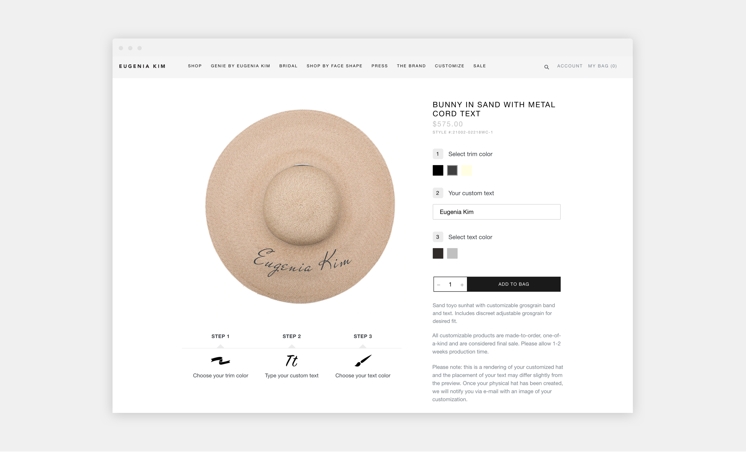 eugenia kim shopify website product page