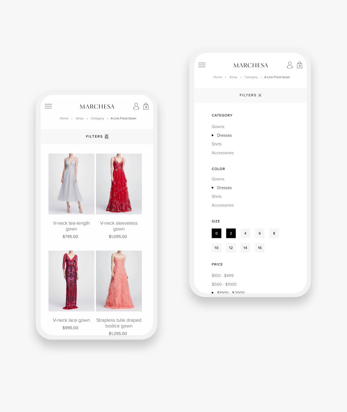 marchesa shopify plus collection page and product filter on mobile