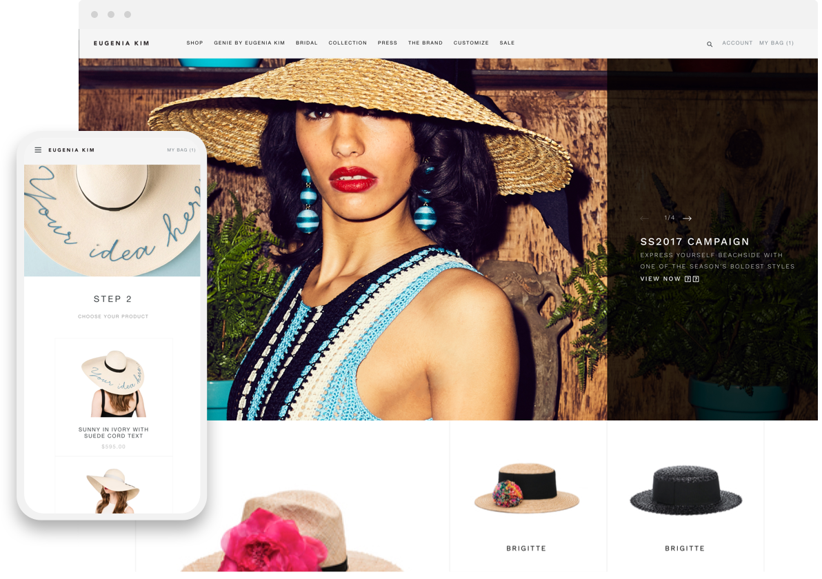 eugenia kim desktop and mobile shopify pages