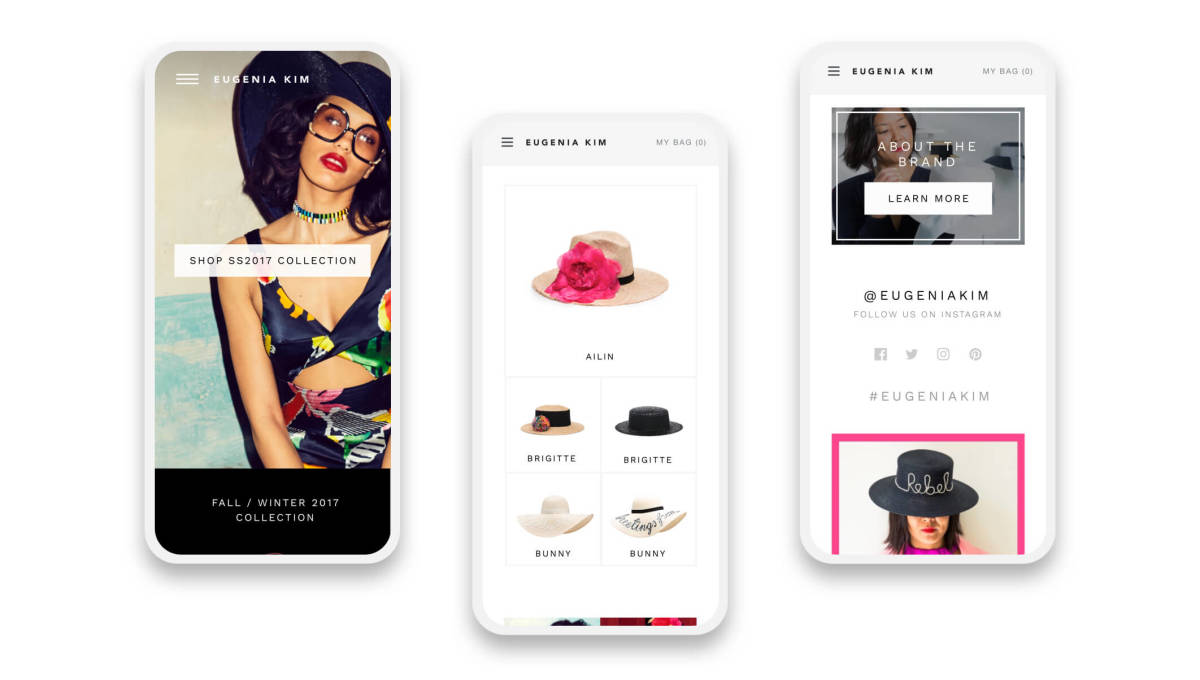 eugenia kim shopify website mobile pages on three smartphones