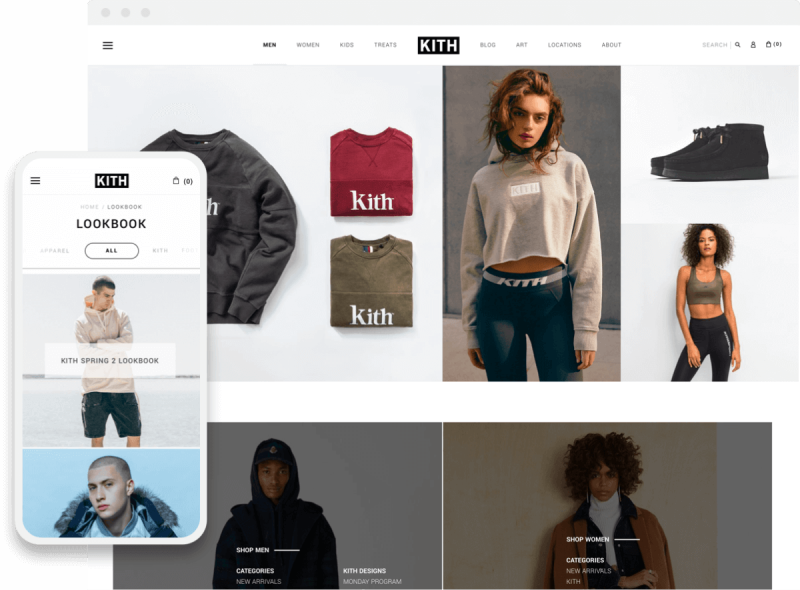kith shopify website look book and collection pages on desktop and mobile