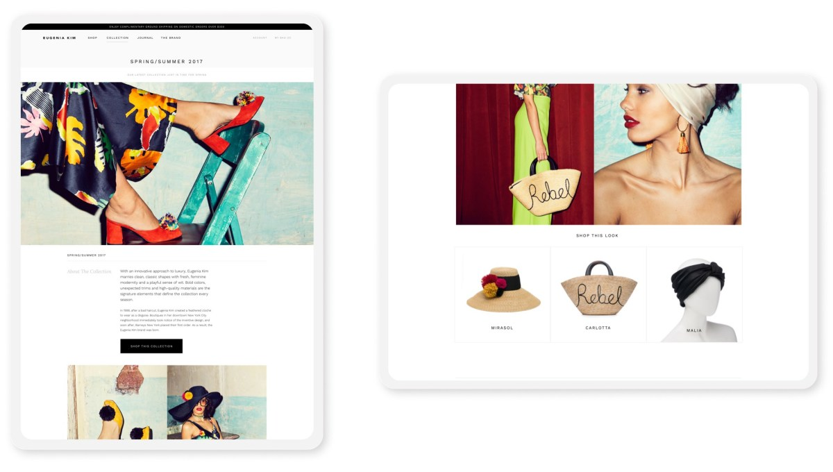 eugenia kim shopify website pages on tablets in portrait and landscape modes