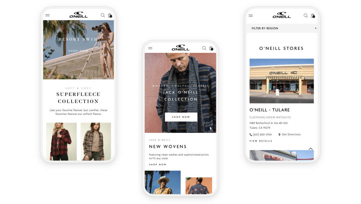 oneill shopify website pages on three mobile phones