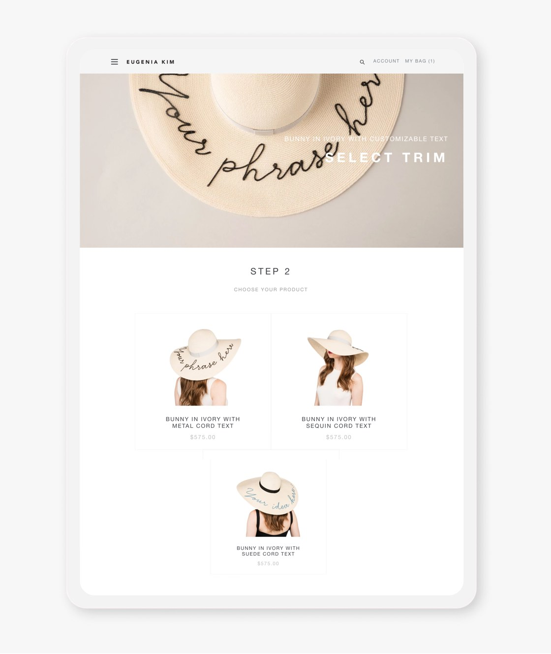 eugenia kim website hat customization page on tablet