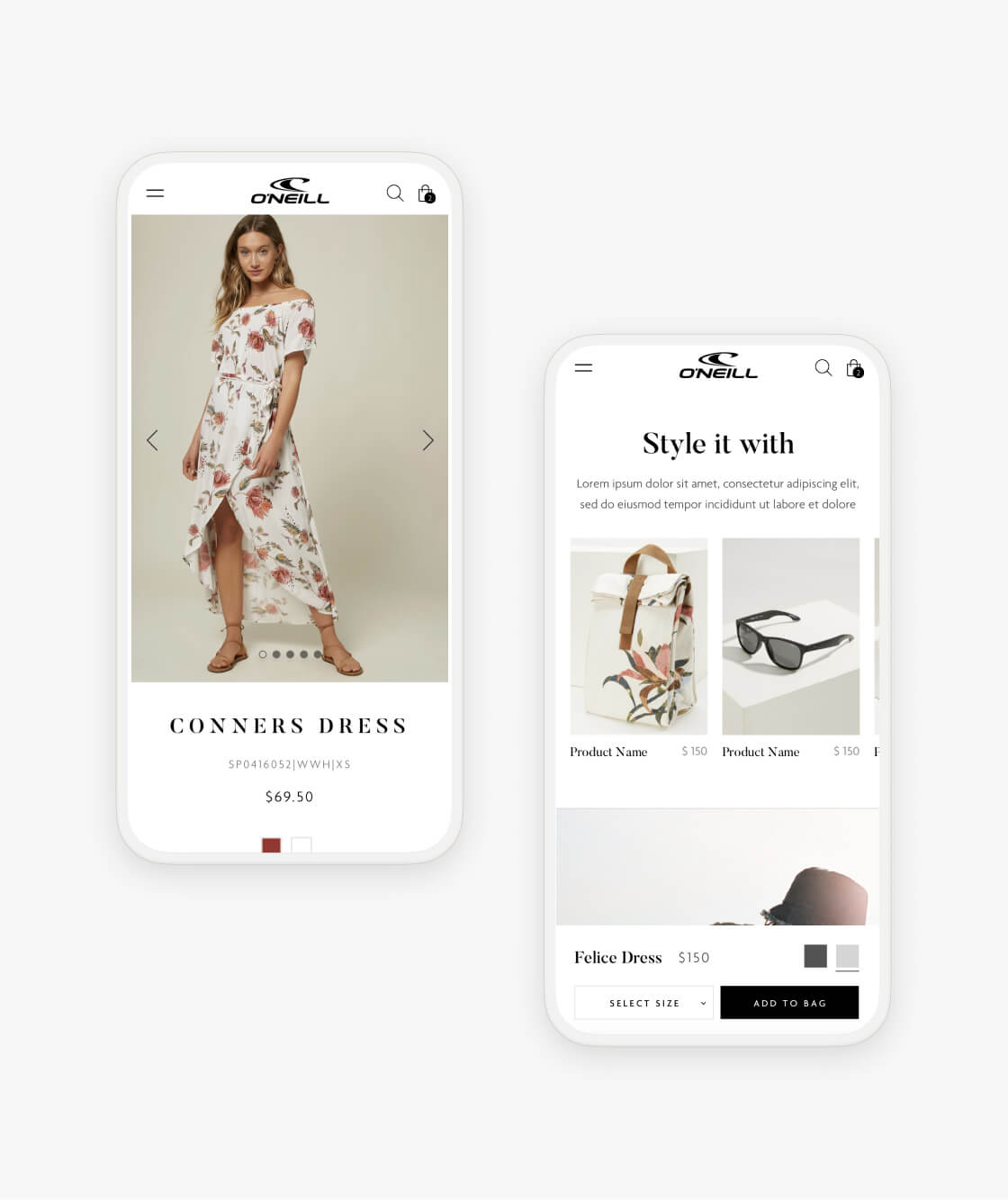 oneill shopify product pages on two mobile phones
