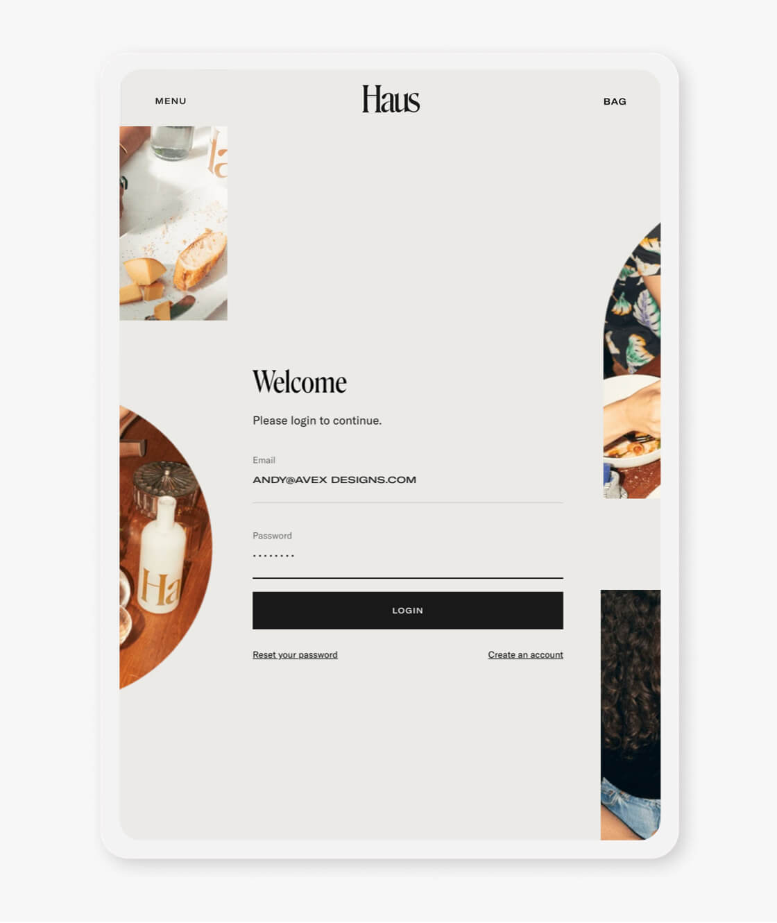 haus shopify website login page on tablet