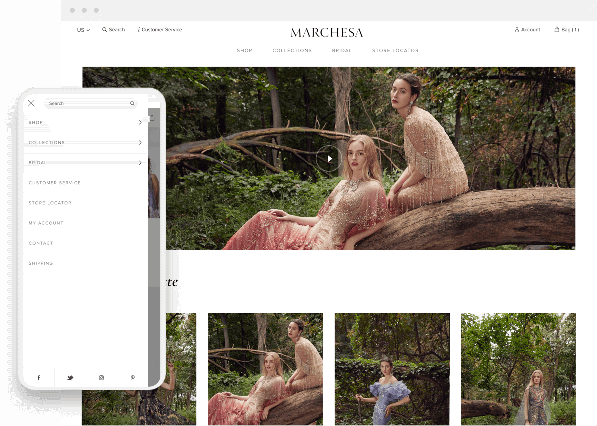 marchesa shopify plus website mobile and desktop pages