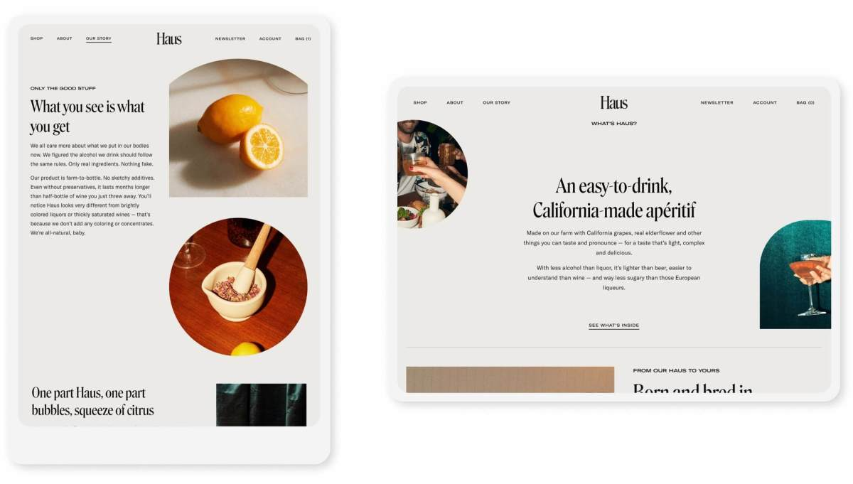 haus shopify website pages on tablets in portrait and landscape modes
