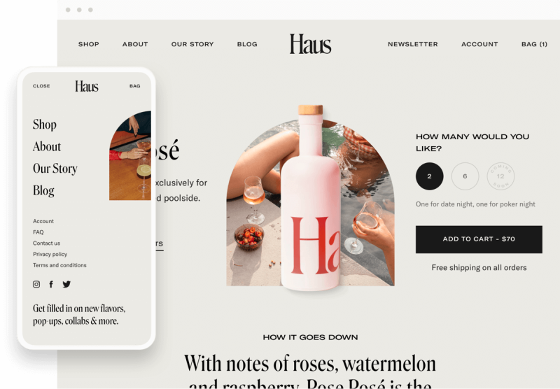 haus shopify website pages on desktop and mobile devices