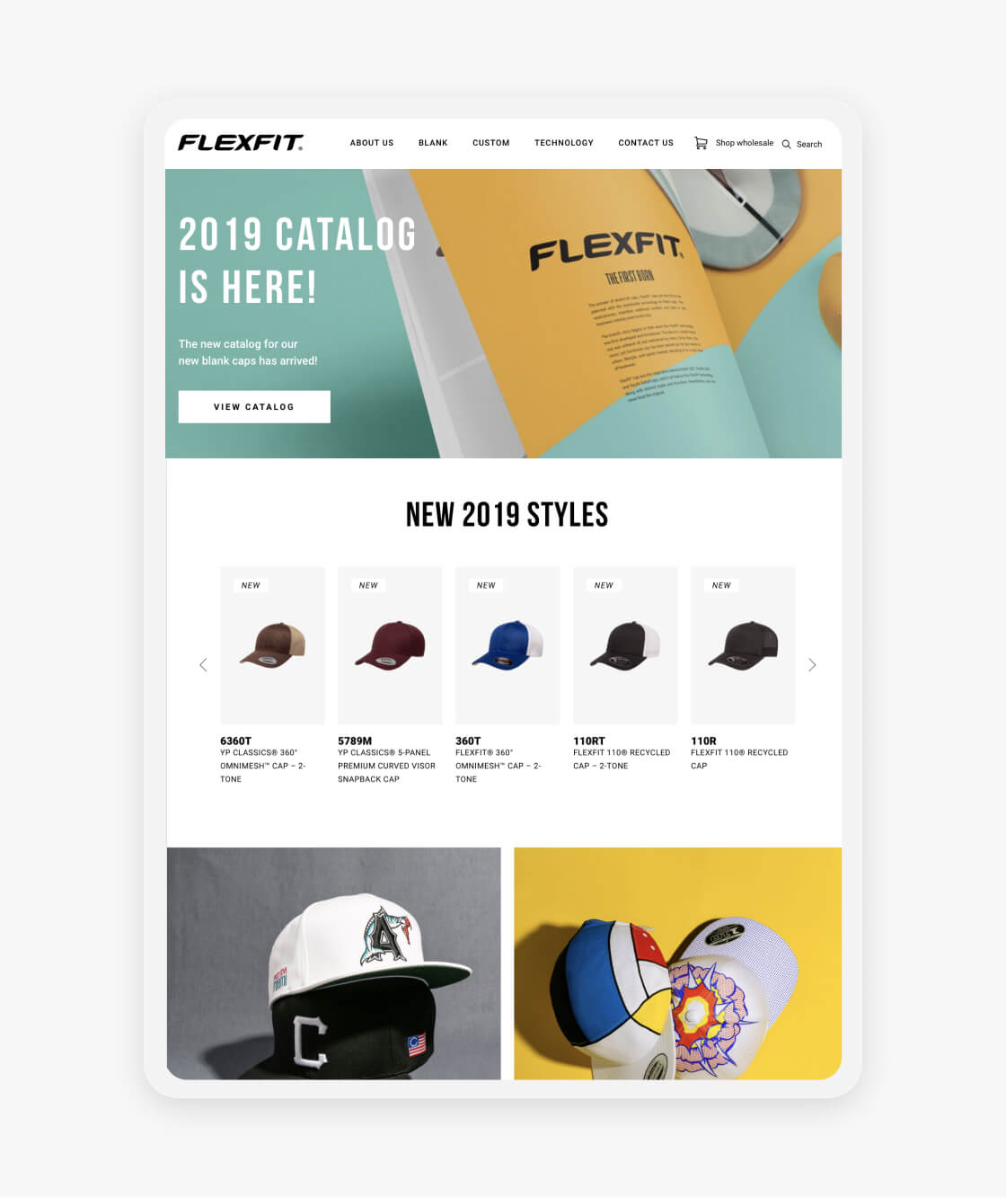flexfit website catalog page on tablet
