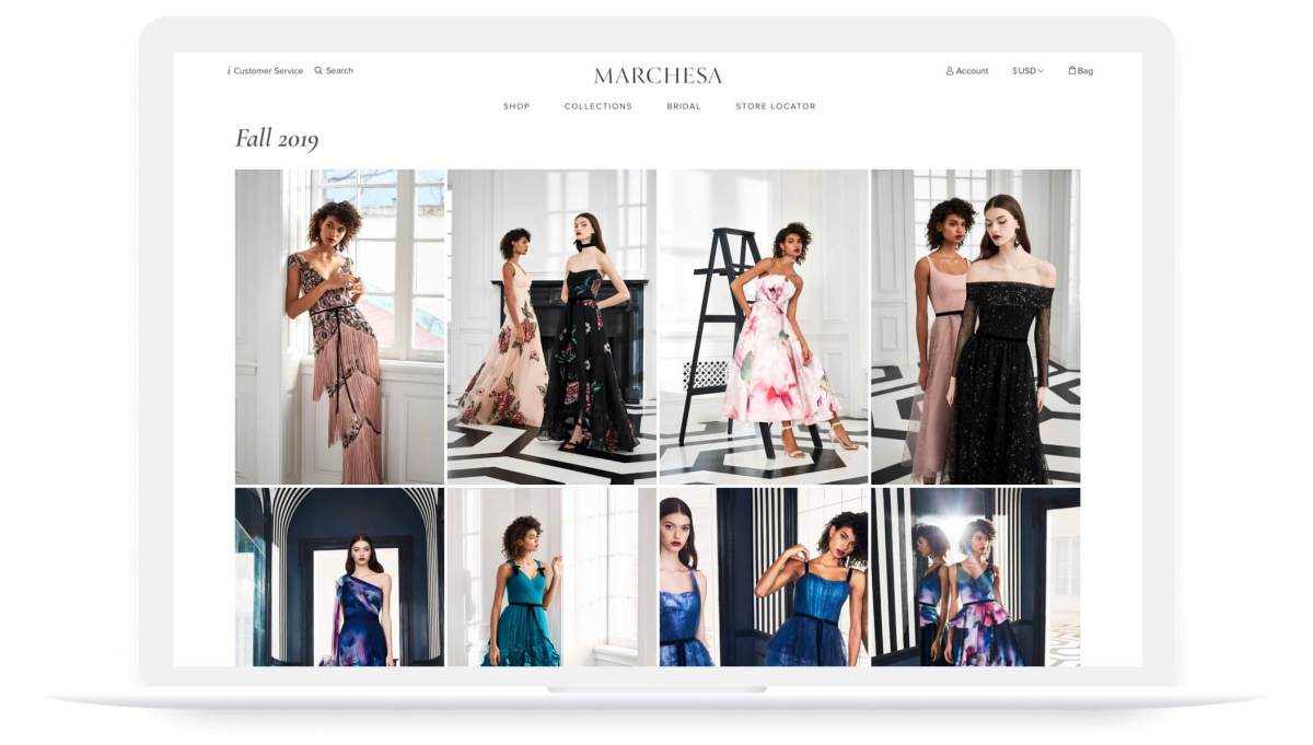 marchesa website fall 2019 look book page on laptop