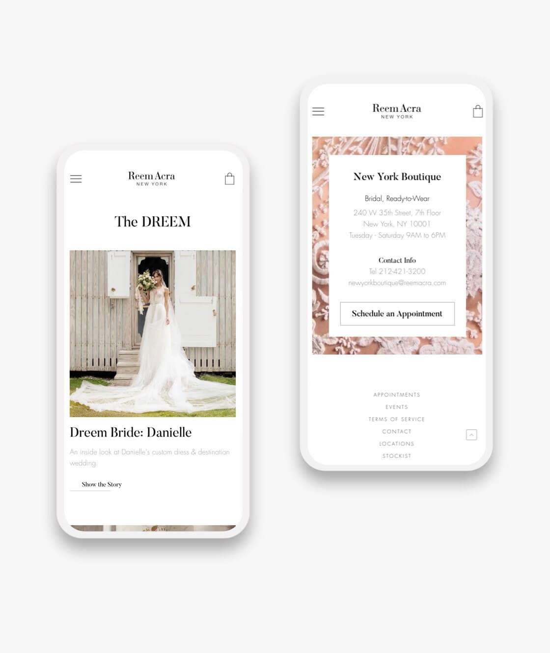 reem acra web pages on mobile phones