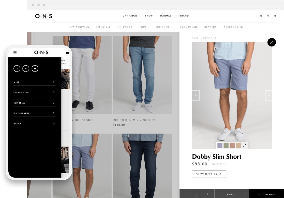 o n s shopify pages on mobile and desktop devices