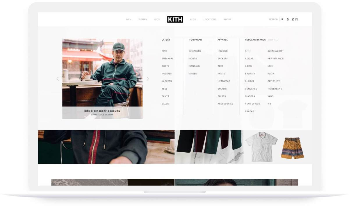 kith shopify website navigation menu pop up on laptop screen