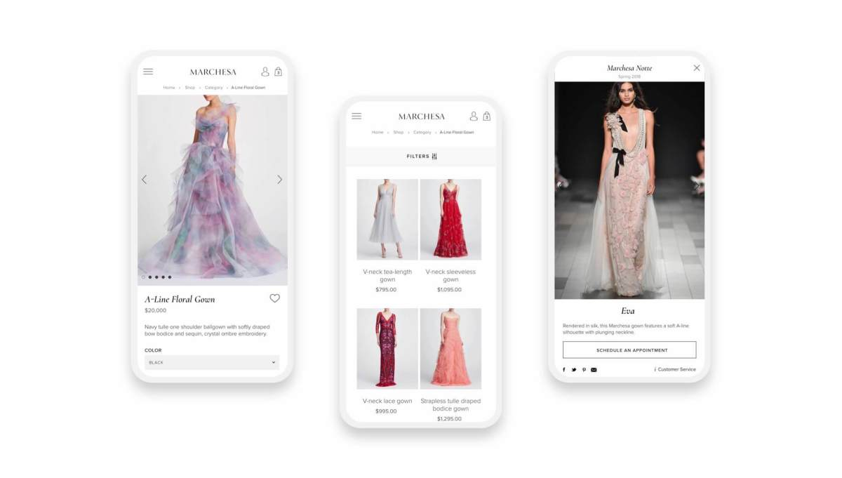 marchesa shopify website mobile product and collection pages on three smartphones