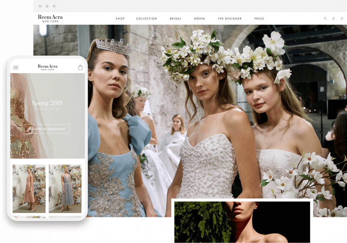 reem acra shopify website pages on desktop and mobile devices