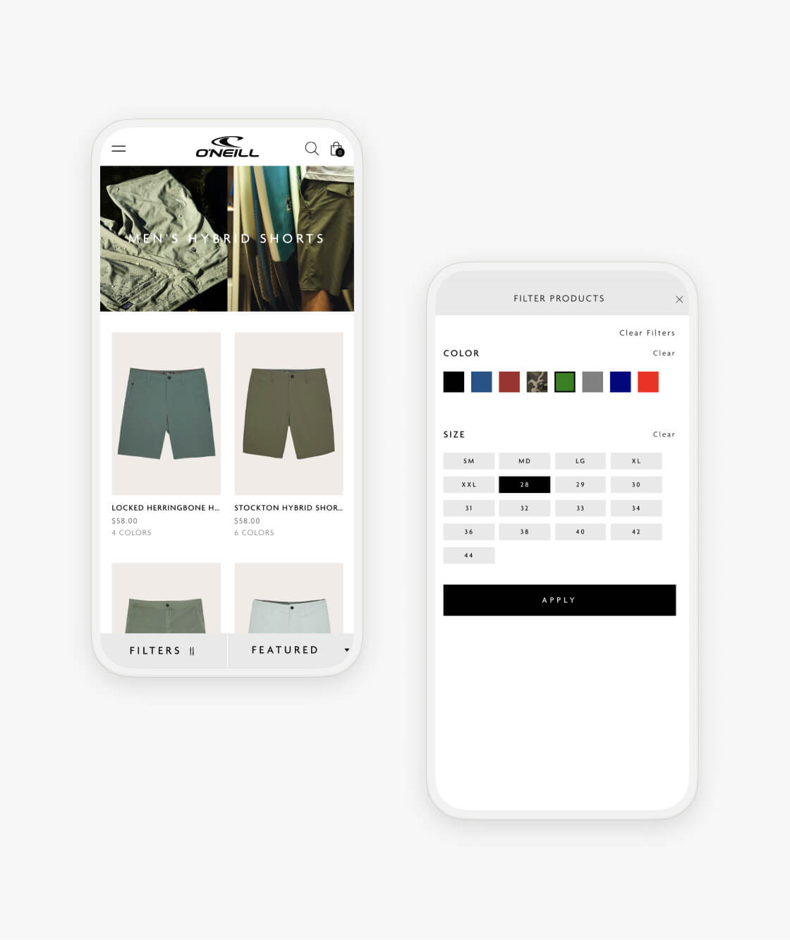 oneill shopify product collection and collection filter on two mobile phones